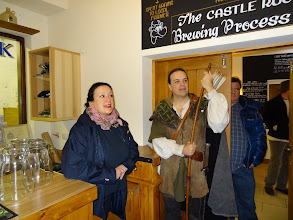 """Photo: Castle Rock's Charlotte (Charlie) Blomeley andNottingham's official """"Robin Hood"""" (Tim Pollard) prepare to take the group through the brewery."""