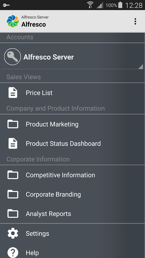 Alfresco- screenshot
