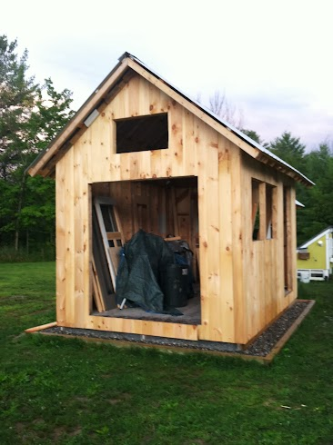 Front of shed sided