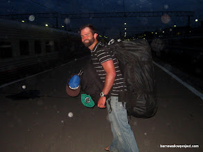 Photo: Matt is definitely relieved to to load all this gear onto the train after transporting it across Moscow