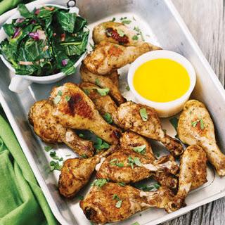 Roast Jerk Chicken with Mango Sauce & Collard Greens.