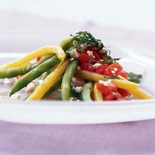 Green and Yellow Bean Salad with Chunky Tomato Dressing and Feta Cheese