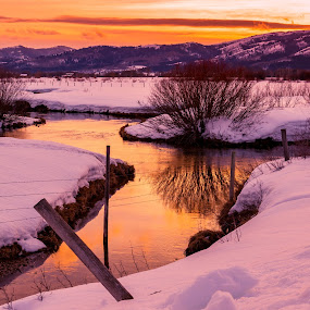Sunset Creek by Chad Roberts - Landscapes Waterscapes ( water, stream, sunset, snow, creek, sundown, evening,  )
