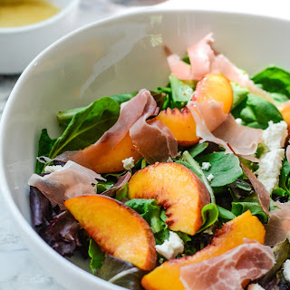 Peach Prosciutto Mixed Green Salad.
