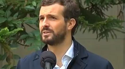 Pablo Casado durante las declaraciones dadas después de ejercer su derecho a voto.