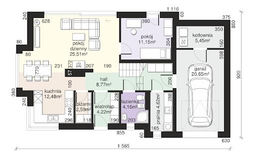 Dom przy Modrzewiowej 15 - Rzut parteru