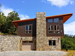 Photo: The 2014 Hunter/Porry House, aka Mia Bella Vista, Union Mills NC. Designed and built by Mike Hunter.  Owner:  Tongass Creek LLC.  Team members included Tom Freeman Carpentry, John Crawford Electricians, Bill Shuford HVAC, Jock Wall Stone Masons, Kim Warner Structural Engineer, and Jim Mowitz Artistic Textures.
