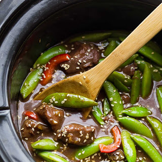 Slow Cooker Sesame Ginger Beef with Snap Peas.