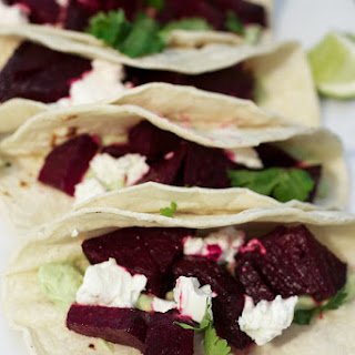 Beet and Goat Cheese Tacos with Avocado Cream #SundaySupper