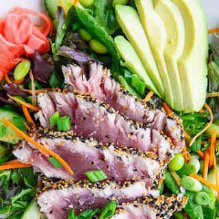 Sesame Crusted Seared Ahi Tuna 'Sushi' Salad with Wasabi Vinaigrette.