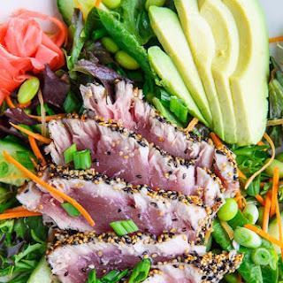 Sesame Crusted Seared Ahi Tuna 'Sushi' Salad with Wasabi Vinaigrette.