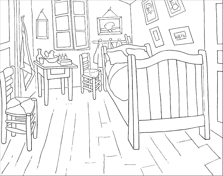 Colouring Page The Bedroom - Van Gogh Museum