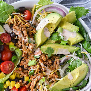 Loaded Taco Salad with Salsa Ranch Dressing.