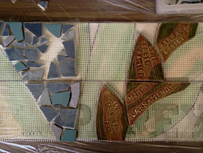 Photo: Details of ceramic-tile steps in progress at the first public tile-making workshop (Saturday, December 1, 2012, Christ Church Lutheran community hall in San Francisco's Sunset District) for the Hidden Garden Steps project (16th Avenue, between Kirkham and Lawton streets) in San Francisco's Inner Sunset District; project artists: Aileen Barr and Colette Crutcher,For more information about the project, please visit http://hiddengardensteps.org.