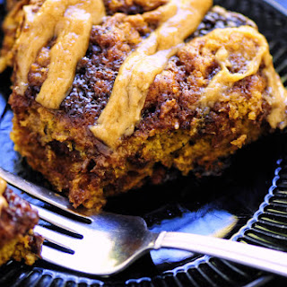 Pumpkin Sticky Roll Skillet Cake with Cinnamon Tahini Cream Cheese Icing (Gluten Free).