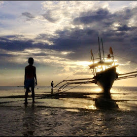 Waiting for the Tide..... by Dickson   Shia - Transportation Boats ( seascape, nature, sunset, girl, low tide,  )