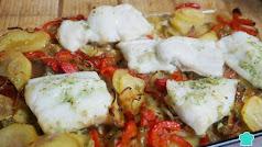 Bacalao al horno con verduras.