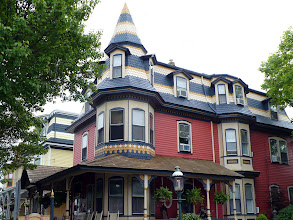 Photo: A gas street light enhances a Victorian corner property, The Columbia House.  http://www.thecolumbiahouse.com/