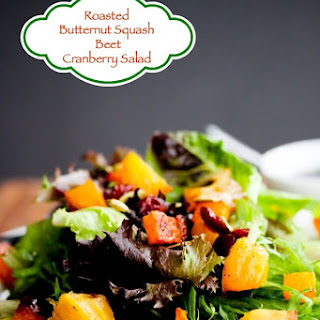 Roasted Butternut Squash Beet Salad with Apple Pumpkin Seed Oil Dressing.