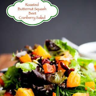 Roasted Butternut Squash Beet Salad with Apple Pumpkin Seed Oil Dressing.