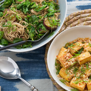 Seared Tofu & Soba Noodles with Japanese Sweet Potatoes & Pea Tips.