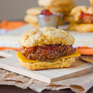 Pepper Jack Cheese and Chicken Biscuit Breakfast Sandwich
