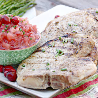 Grilled Pork Chops with Cranberry Applesauce.