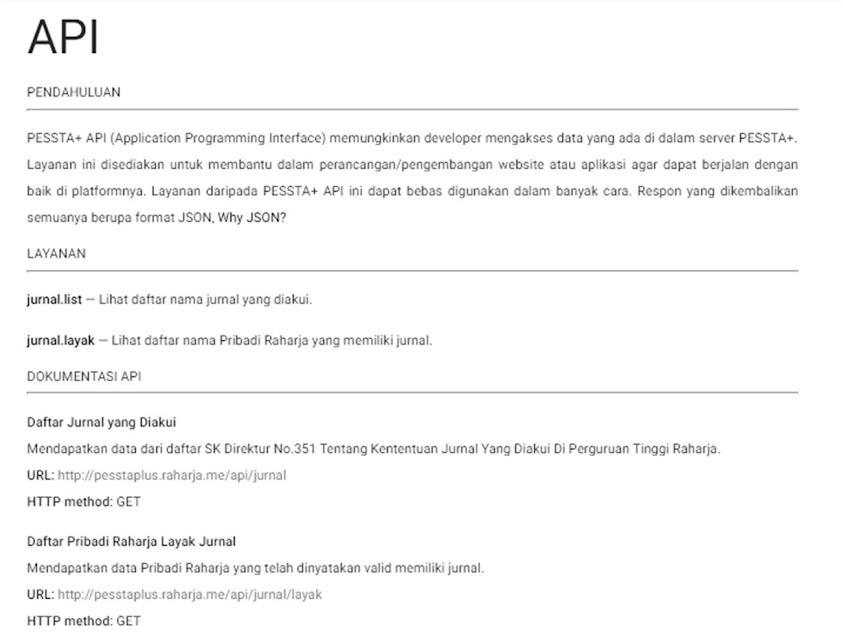 Prototype Halaman PESSTA+ API