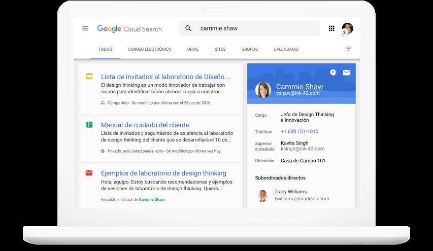 Busque en todos los productos de GoogleWorkspace