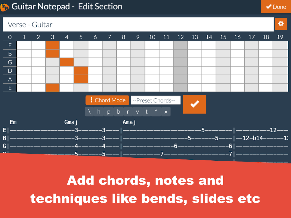 Guitar notepad tab editor android apps on google play guitar notepad tab editor screenshot hexwebz Gallery