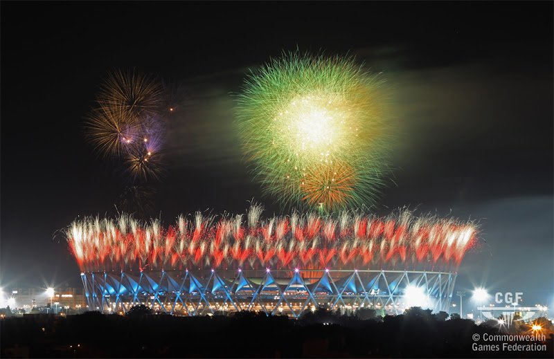 Photo: DELHI, INDIA - OCTOBER 03:  Fireworks are seen over Jawaharlal Nehru Stadium during the Opening Ceremony for the Delhi 2010 Commonwealth Games at Jawaharlal Nehru Stadium on October 3, 2010 in Delhi, India.  (Photo by Phil Walter/Getty Images)
