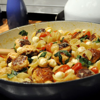 Pasta with Mini Chicken Meatballs