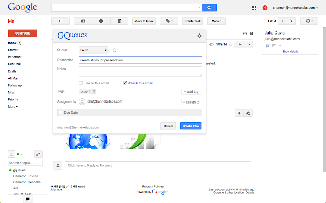 GQueues for Gmail chrome extension