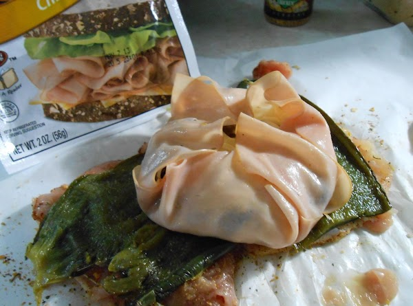 Then fold sides and ends of thin sliced chicken up to make a pouch....