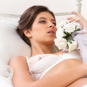 Kristina  by Paul Phull - People Portraits of Women ( model, bed, kristina, flowers, photography ., portrait )
