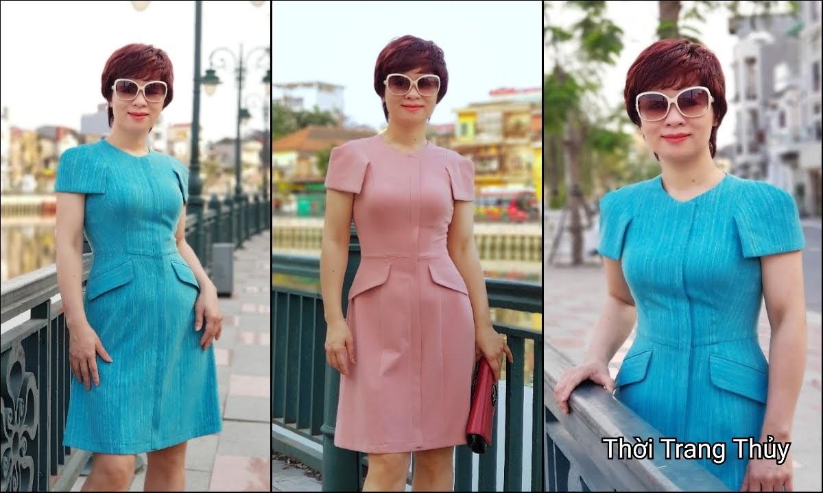 Váy xòe chữ A mặc công sở và dạo phố V700 thời trang thủy