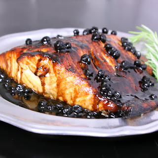 Salmon with Blueberry Balsamic Sauce.