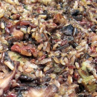 Wild Rice Stuffing with Mushrooms.