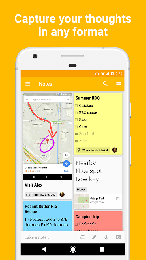 Google Keep - notas e listas: captura de tela