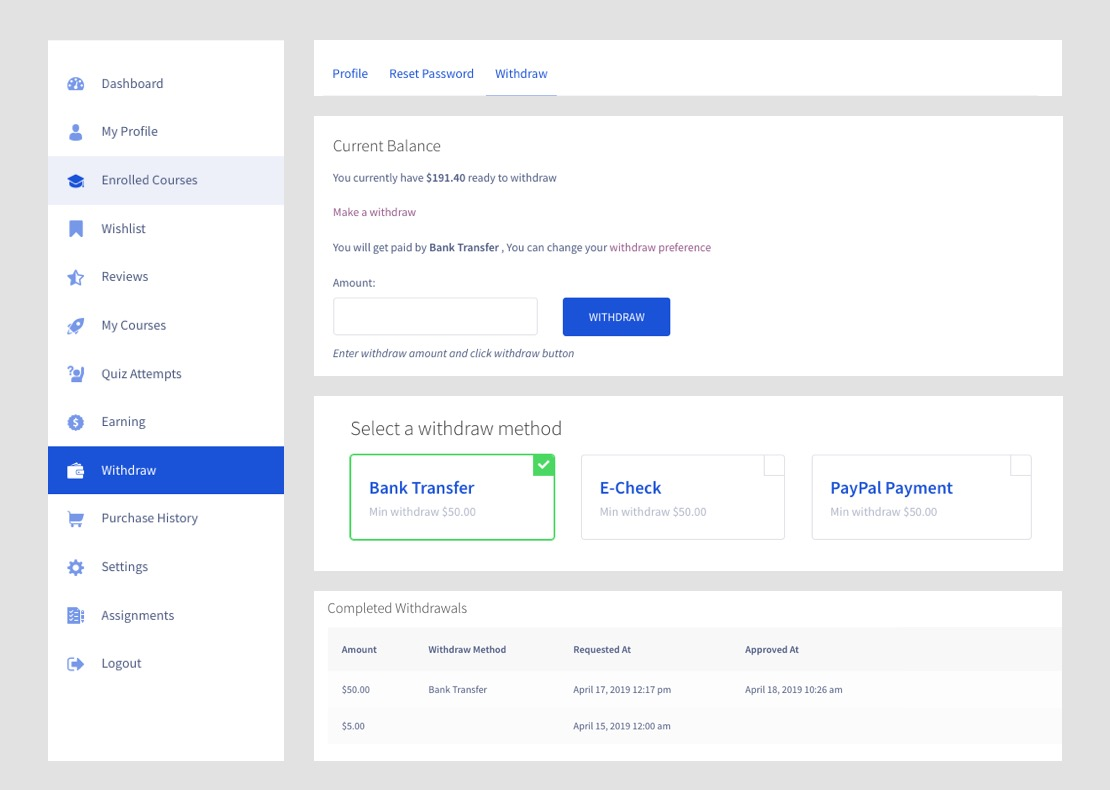 Tutor LMS payment withdrawal system