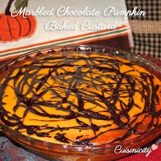 Marbled Chocolate Pumpkin Baked Custard