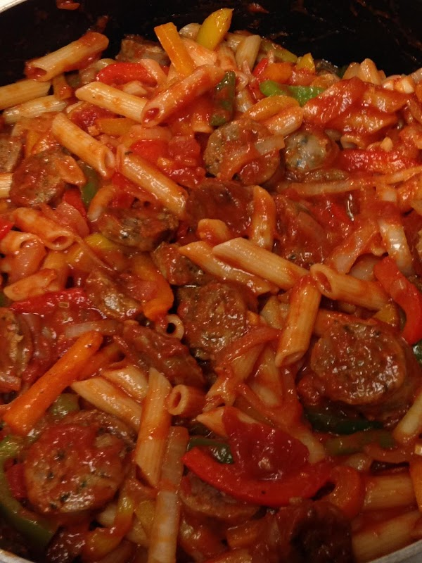 Add sausage, pasta and sauce to vegetable mixture and heat through.