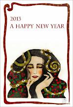 Photo: 2013年度 年賀状 Paper, Watercolor, Goldcolor powder, PC / 2012.Dec
