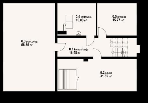 Chmielniki dw 49x - Rzut piwnicy