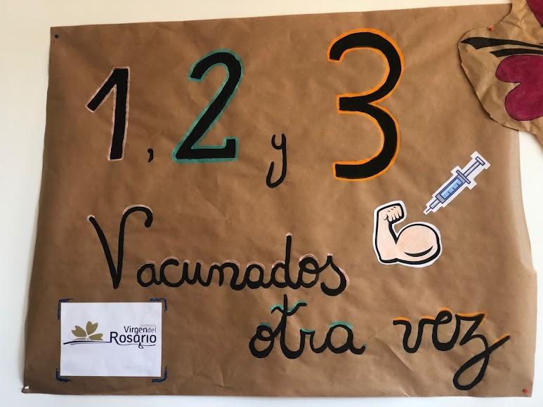 Pancarta instalada en la residencia Virgen del Rosario.