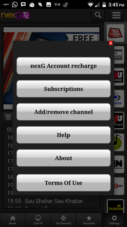 nexGTv SD Live TV on Mobile- screenshot