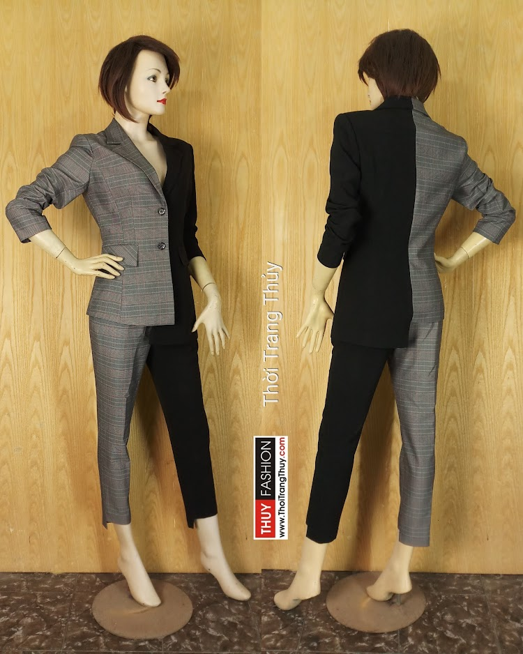 Áo vest nữ bất đối xứng kẻ caro phối màu đen V636 tại Hải Phòng
