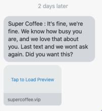 Super Coffee: rappel de panier abandonné.