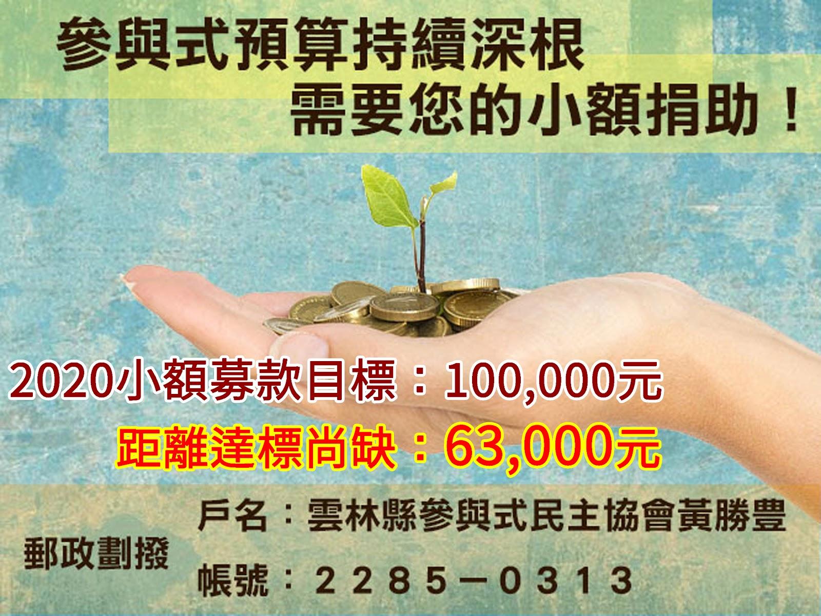 推動參與式預算需要您:本會2020小額募款目標:100,000元;距離達標尚缺63,000元。