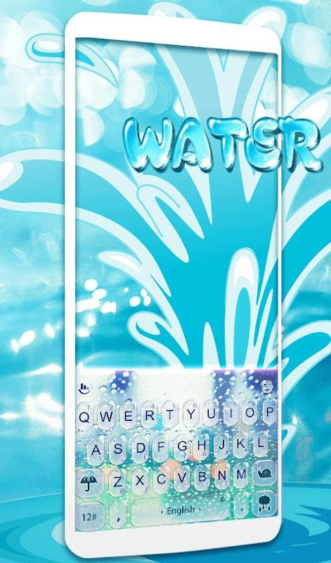Water Keyboard -  Blue Glass Water Keyboard Theme screenshots